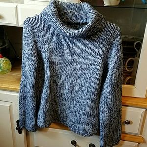 Marled blue cowl neck sweater